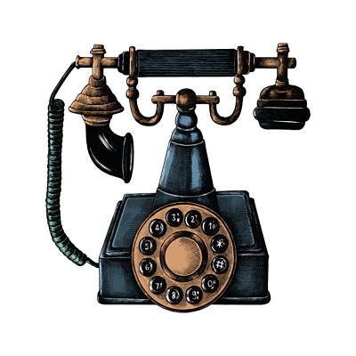 telefono-de-linea-retro-dibujado-a-mano